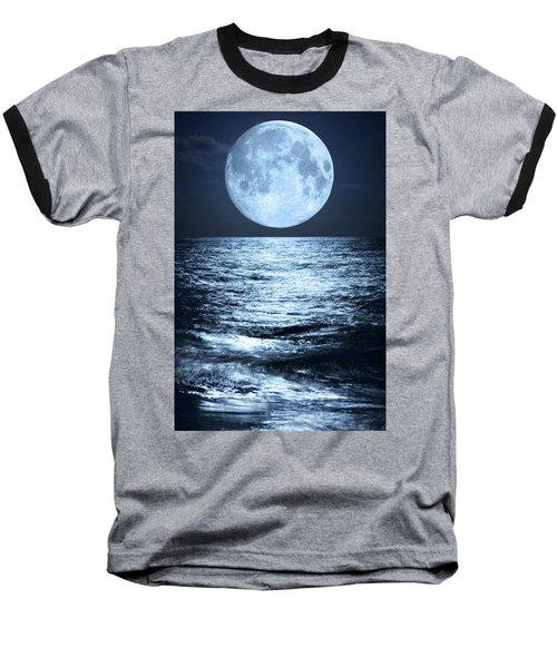 Super Moon Over Ocean Baseball T-Shirt