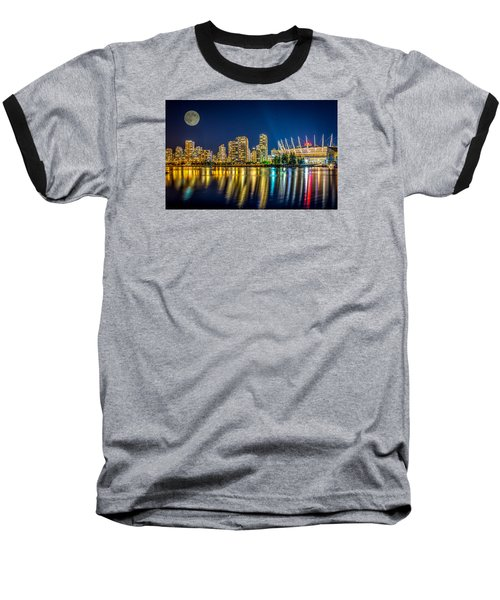 Super Moon Over Vancouver  Baseball T-Shirt by Sabine Edrissi