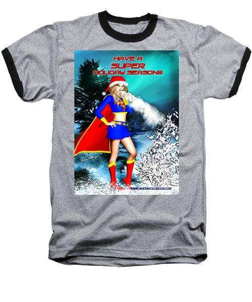 Supergirl Holiday Greeting Card Baseball T-Shirt