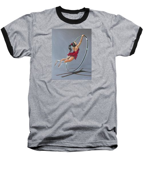 Supergirl On Cyr Wheel  Baseball T-Shirt