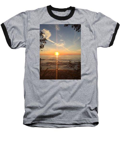 Superior Sunset Baseball T-Shirt by Paula Brown