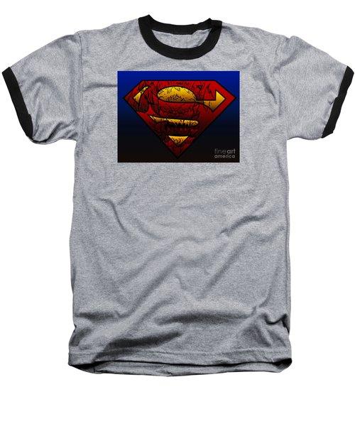 Superman Doomsday Shield  Baseball T-Shirt by Justin Moore