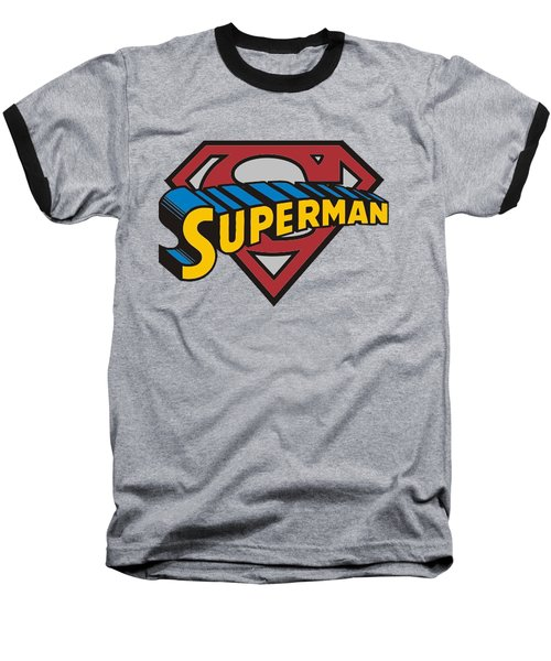 Superman T-shirt Baseball T-Shirt by Herb Strobino