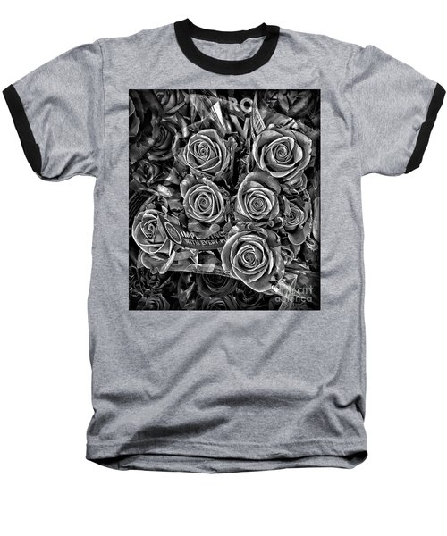 Supermarket Roses Baseball T-Shirt by Walt Foegelle