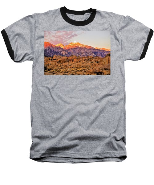 Supermoon Setting At Sunrise Over Mount Williamson In The Sierra Nevada Mountains Baseball T-Shirt
