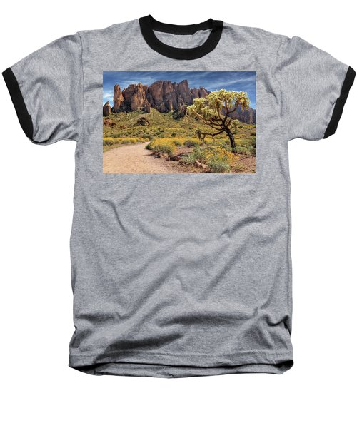 Superstition Mountain Cholla Baseball T-Shirt by James Eddy