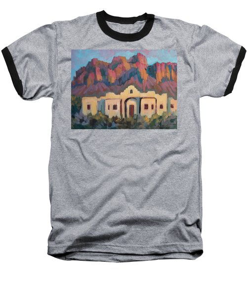 Baseball T-Shirt featuring the painting Superstition Mountain Evening by Diane McClary