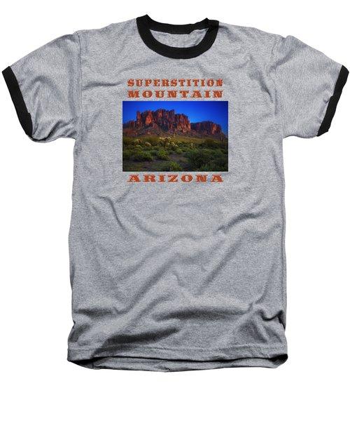 Superstition Mountain Sunset Baseball T-Shirt