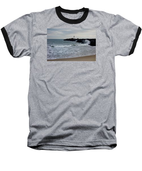 Baseball T-Shirt featuring the photograph Surf Beach At Manasquan Inlet by Melinda Saminski