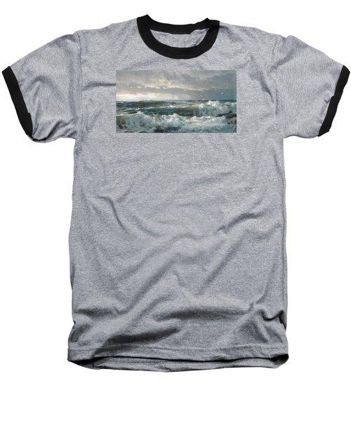 Surf On The Rocks Baseball T-Shirt by  Newwwman