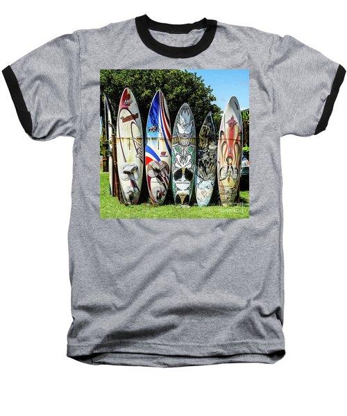 Surfboard Hana Maui Hawaii Baseball T-Shirt by Peter Dang