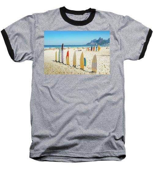 Surfboards On Ipanema Beach, Rio De Janeiro Baseball T-Shirt