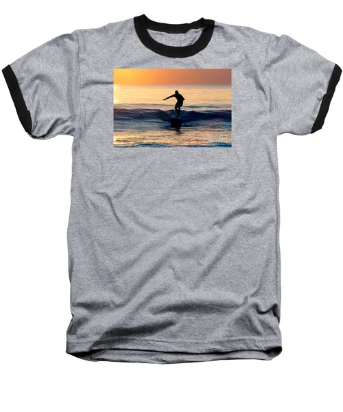 Surfer At Dusk Baseball T-Shirt
