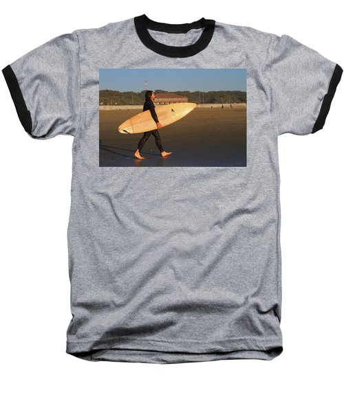 Surfer At Ocean Beach Baseball T-Shirt