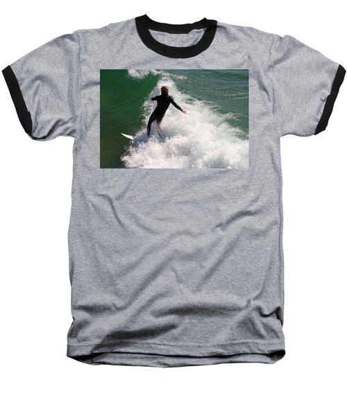 Surfer Catching A Wave Baseball T-Shirt