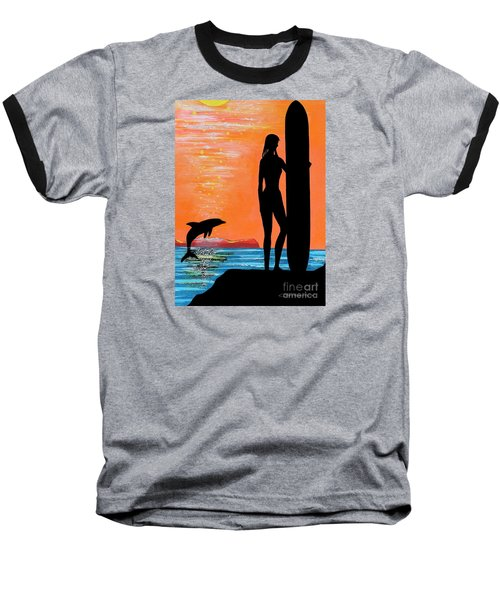 Surfer Girl With Dolphin Baseball T-Shirt