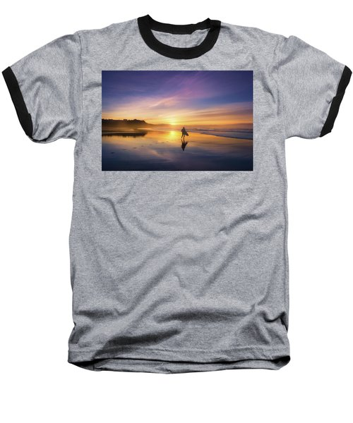 Surfer In Beach At Sunset Baseball T-Shirt