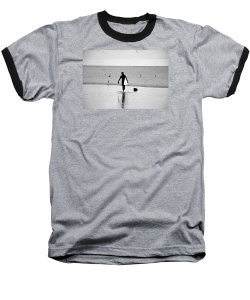 Baseball T-Shirt featuring the photograph Surfer In Silhouette by Antonia Citrino