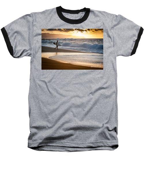 Surfer On Beach Baseball T-Shirt
