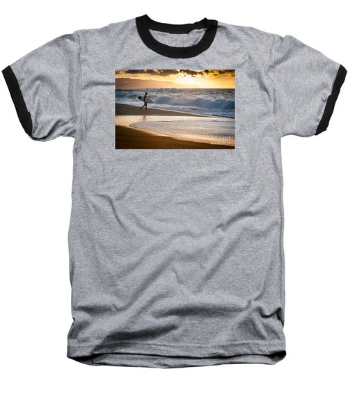 Surfer On Beach Baseball T-Shirt