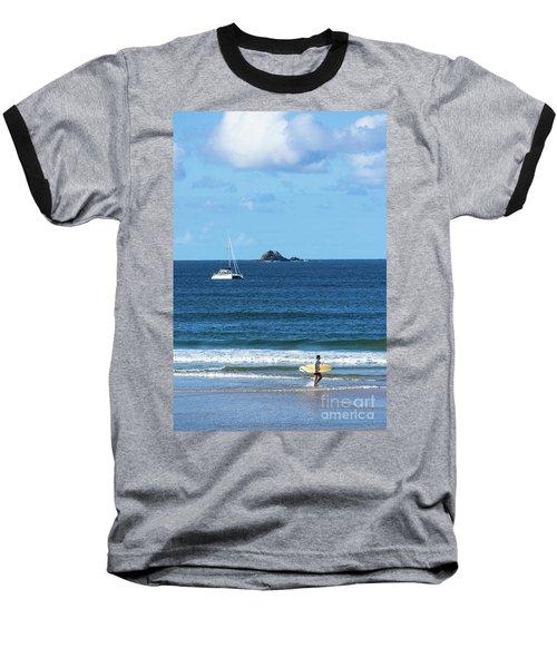 Surfer On Main Beach Baseball T-Shirt