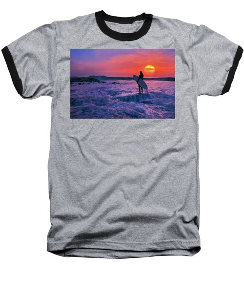 Surfer On Rock Looking Out From Blowing Rocks Preserve On Jupiter Island Baseball T-Shirt by Justin Kelefas