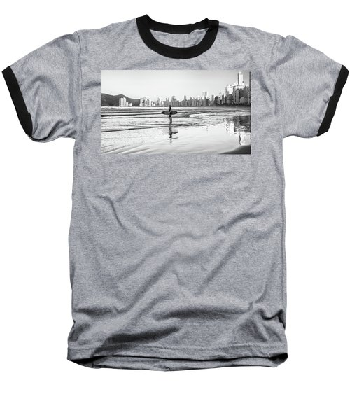 Surfer On The Beach Baseball T-Shirt