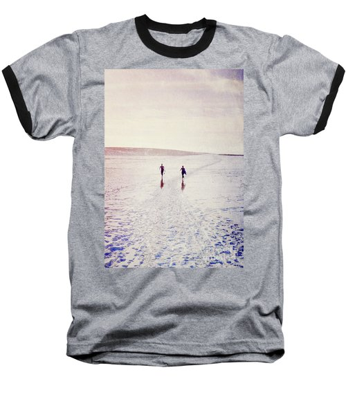 Baseball T-Shirt featuring the photograph Surfers In The Snow by Lyn Randle