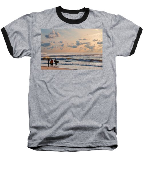 Surfing At Sunrise On The Jersey Shore Baseball T-Shirt