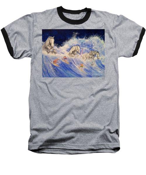 Surfing Horses Baseball T-Shirt