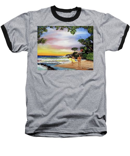 Surfing In Rincon Baseball T-Shirt by Luis F Rodriguez