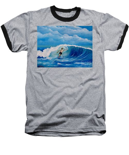 Surfing On The Waves Baseball T-Shirt