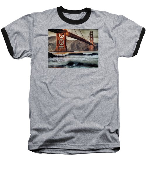 Baseball T-Shirt featuring the photograph Surfing The Shadows Of The Golden Gate Bridge by Steve Siri