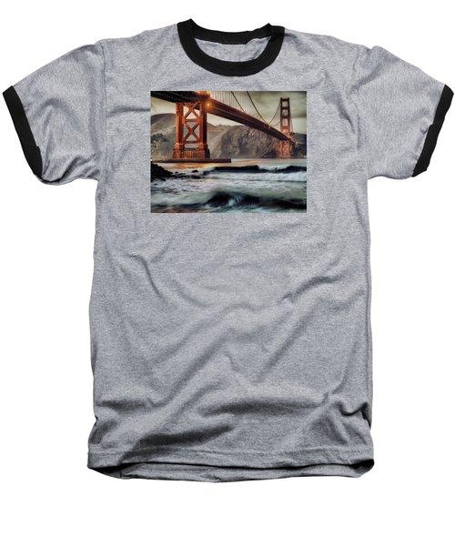Surfing The Shadows Of The Golden Gate Bridge Baseball T-Shirt by Steve Siri