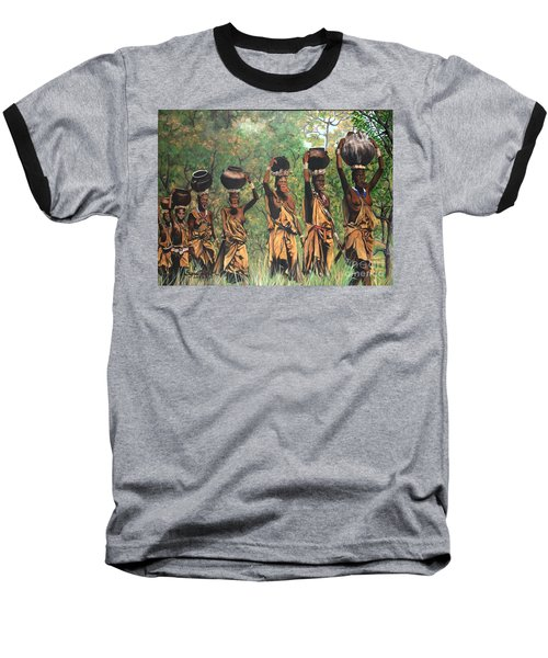Baseball T-Shirt featuring the painting Surma Women Of Africa by Sigrid Tune