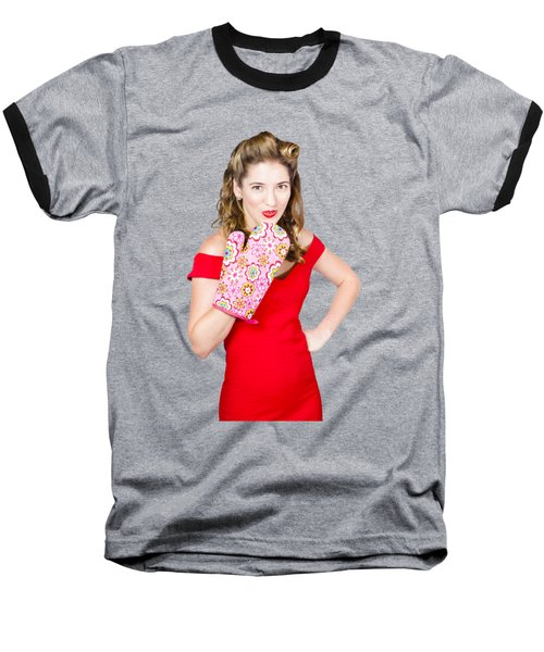 Surprise Cooking Pinup Woman With Cook Mitt Baseball T-Shirt by Jorgo Photography - Wall Art Gallery