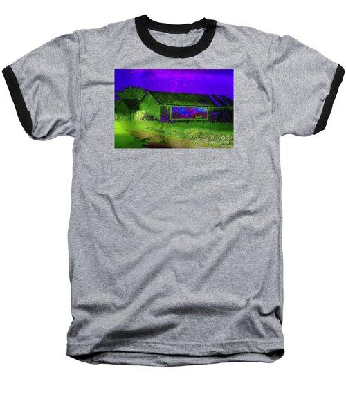Surreal Barn Graffiti Baseball T-Shirt by Dee Flouton