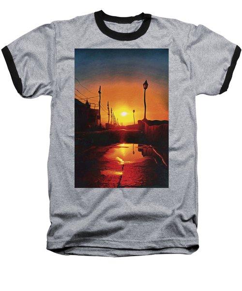 Surreal Cityscape Sunset Baseball T-Shirt by Anton Kalinichev