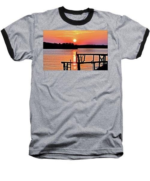 Surreal Smith Mountain Lake Dock Sunset Baseball T-Shirt by The American Shutterbug Society