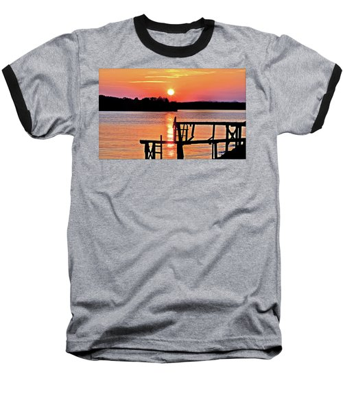 Surreal Smith Mountain Lake Dock Sunset Baseball T-Shirt