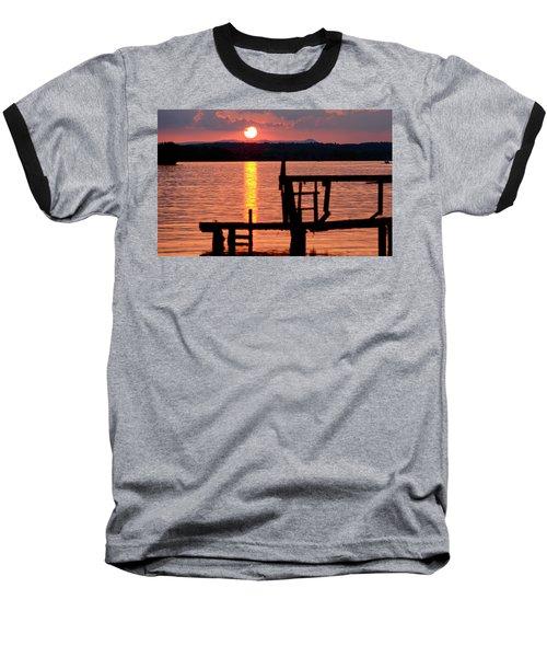 Surreal Smith Mountain Lake Dockside Sunset 2 Baseball T-Shirt by The American Shutterbug Society