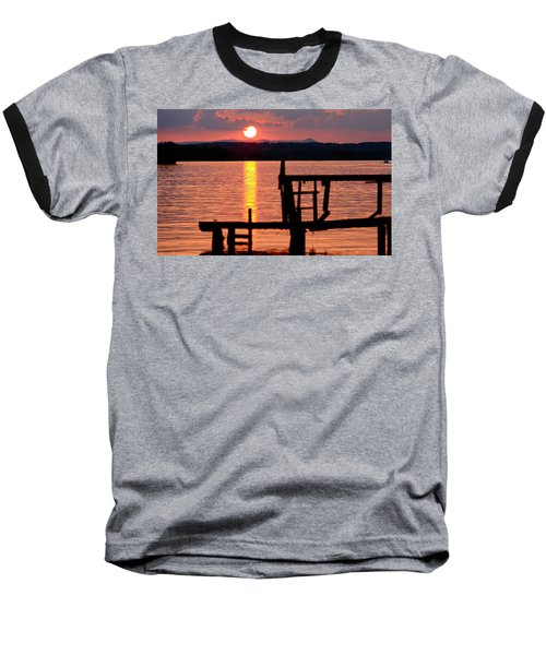 Surreal Smith Mountain Lake Dockside Sunset 2 Baseball T-Shirt