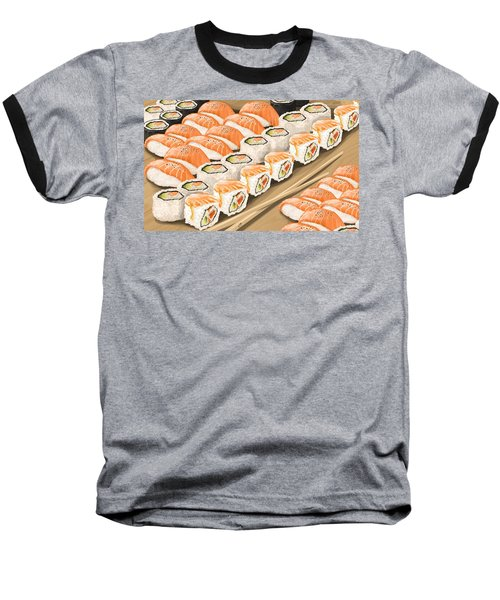Baseball T-Shirt featuring the painting Sushi by Veronica Minozzi