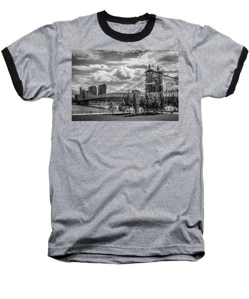 Suspension Bridge Black And White Baseball T-Shirt by Scott Meyer