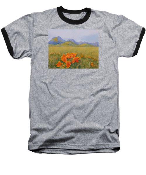 Sutter Buttes With California Poppies Baseball T-Shirt