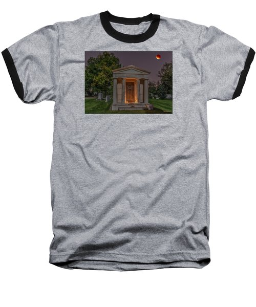 Baseball T-Shirt featuring the photograph Swallow Mausoleum Under The Blood Moon by Stephen  Johnson
