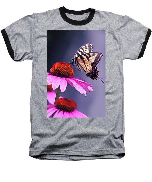 Baseball T-Shirt featuring the photograph Swallowtail And Coneflower by Byron Varvarigos