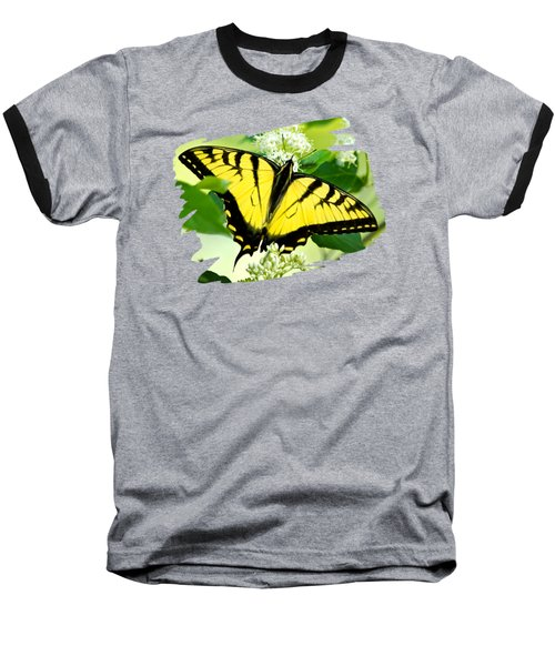 Swallowtail Butterfly Feeding On Flowers Baseball T-Shirt by Christina Rollo