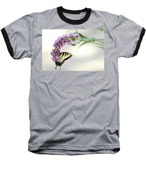 Baseball T-Shirt featuring the photograph Swallowtail On Purple Flower by Emanuel Tanjala
