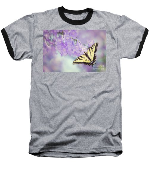 Swallowtail On Purple Flowers Baseball T-Shirt